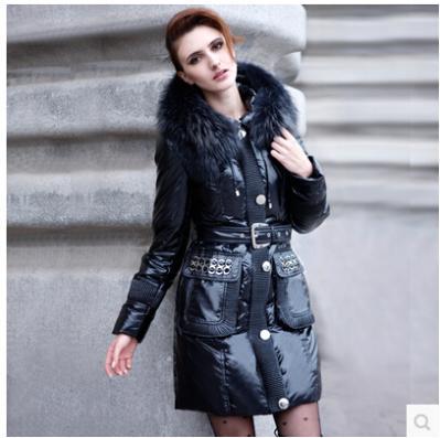 Women's Long Slim Belt Winter White Duck Down Jackets Hooded Coats Outwear+Hezi Fur Collar 207 Free Shipping