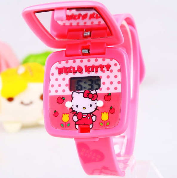 Hot sale Cartoon square flip mirror Hello kitty child silica girls Wristwatches gel electronic students watches