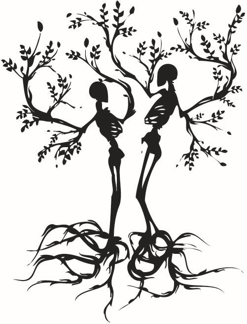 Free Shipping Personality Couple Skull Love Trees Living Room Vinyl Carving Wall Decal Sticker For Halloween Party Home Decor(China (Mainland))