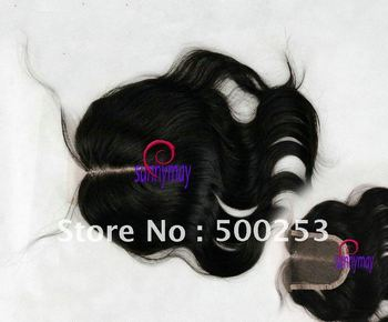 "Middle Part Natural black Color Virgin Brazilian Human Hair 4""*4"" Lace Closure Deep Center Part closure"