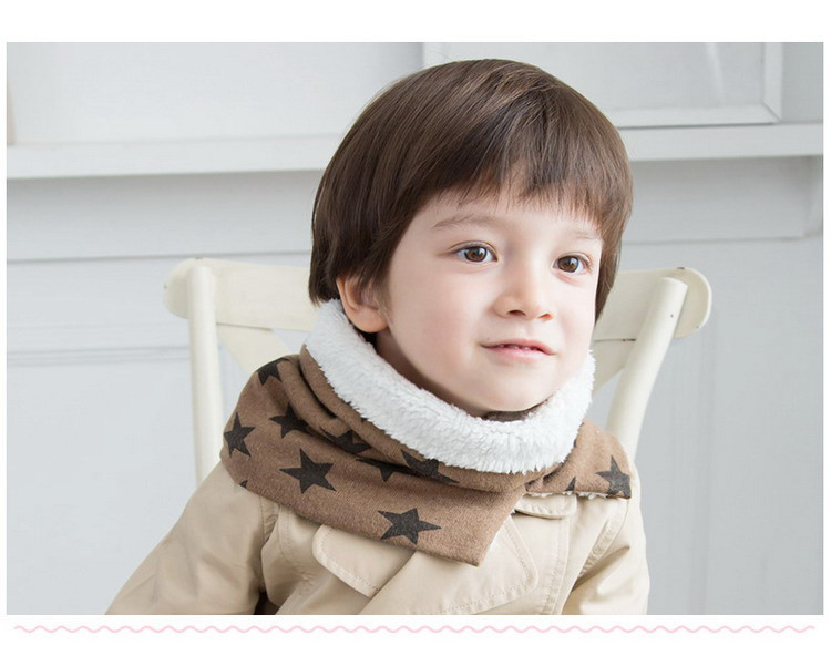 [AETRENDS] Winter Collar Scarf for Kids 1~6 Years Old Baby Cute Scarves with Velvet Inside Star Thicken Ring Z-5054