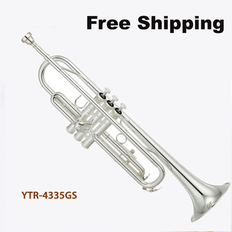Free Shipping New Hot Sale High quality trumpet YTR 4335GS trumpet bb Small brass instruments surface Silver Bb trumpet(China (Mainland))