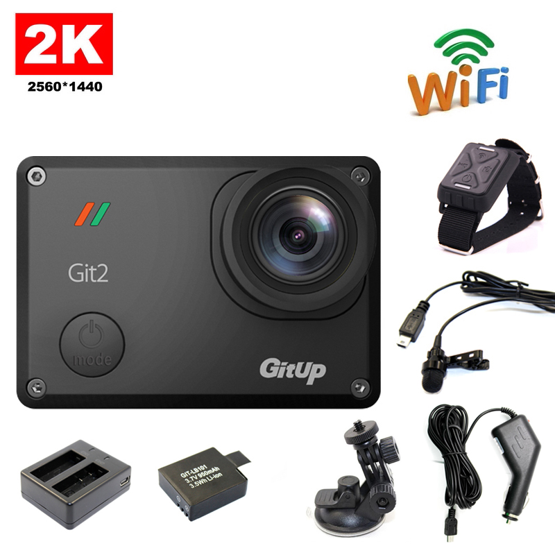 Free shipping!! Gitup Git2 WiFi 2K Sport Action Cam+Extra 1pcs Battery+Battery Charger+Car holder+Car Charger+Mic+Remote Control(China (Mainland))