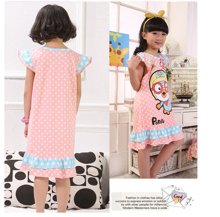 Wholesale Summer Baby Girl Nightgowns Baby & Kids Character Plus Size Nightgowns Evening Dresses 6PCS/Lot New In 2014(China (Mainland))