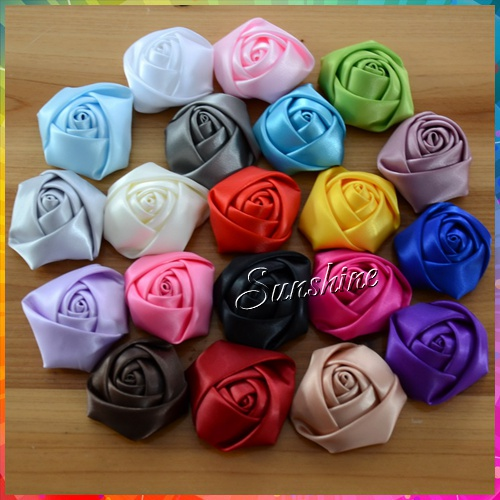 """1.96"""" Satin Rosettes flower,Polyester Ribbon Rolled Rose,Fabric Flower,DIY baby headband/Hair Acessories #2F0099 60 pcs/lot(China (Mainland))"""