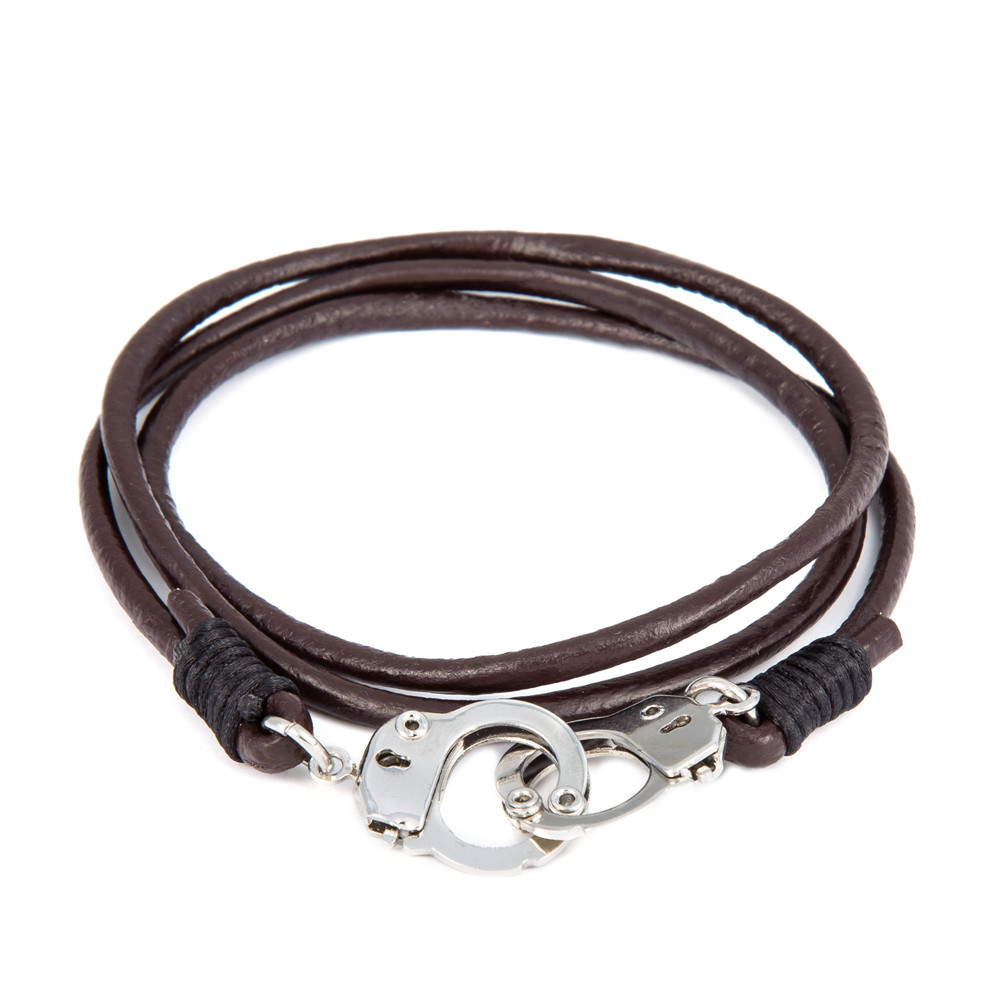 64 CM Genuine Leather Mans Handcuff Bracelets Brown Bracelet Men Pulseira Masculina Leather Charms Bracelets For Man Jewelry(China (Mainland))