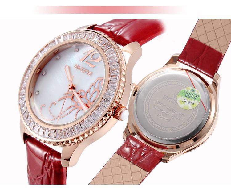 2016 Новое Прибытие Известная Марка Кожа Смотреть Женщины Rhinestone Импортные Япония Кварц Shell Наберите Часы