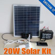 20 W sistema de energia Solar 12 V DC de entrada 20 Watts kit Solar para 12VDC lâmpada led com 5 V USB múltiplas ligar carregador do telefone móvel(China (Mainland))