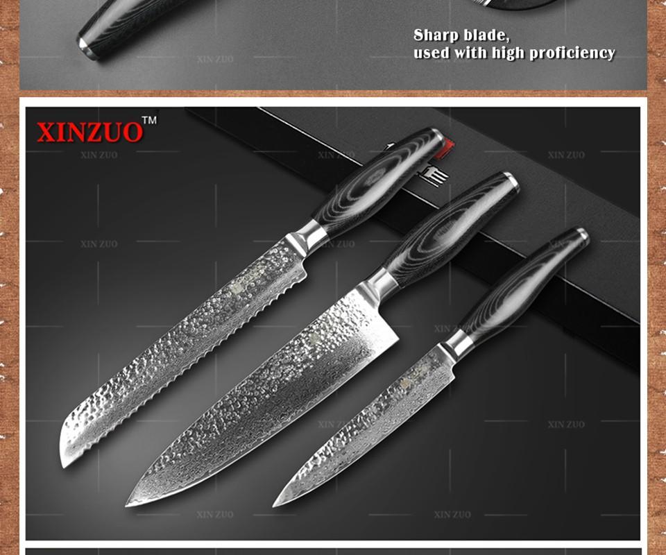 Buy XINZUO 3 pcs kitchen knives set Damascus kitchen knife set Japanese VG10 bread chef utility knife hammer striae  free shipping cheap