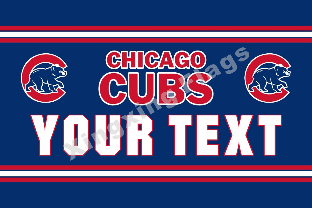 Chicago Cubs Custom Your Text Flag 3ft X 5ft Polyester MLB Team Banner Flying Size No.4 144* 96cm Custom Flag Super Fan(China (Mainland))