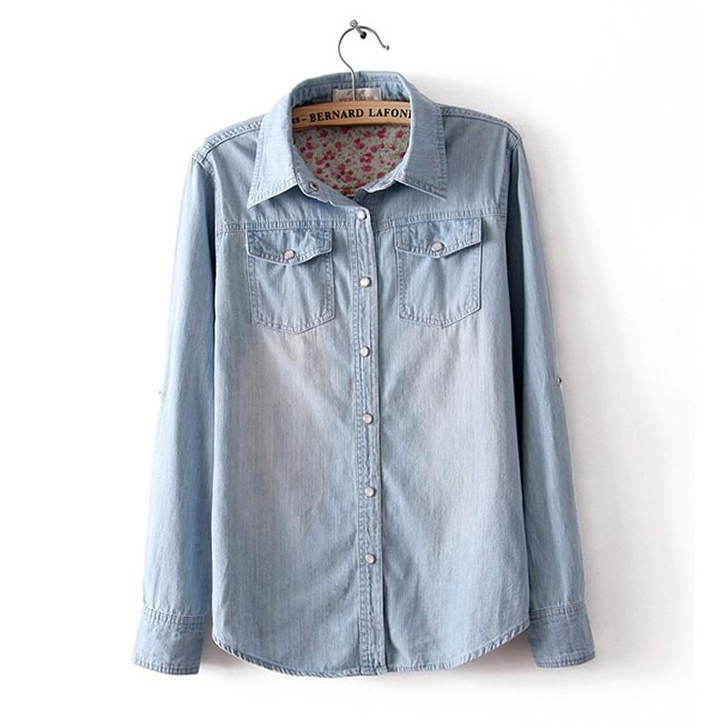 2016 female denim shirt ladies long-sleeve plus size loose camisa jeans casual polo shirts women roupas femininas - fashion best shopping mall store