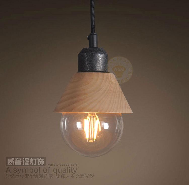 Vintage Industrial Creative Restaurant Wood Pendant