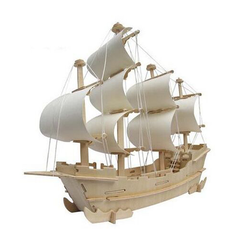 Hot Sale JIGSAW 3d Stereo Gift Handmade Diy Assembled Ancient Sailing Model Christmas Gift 3D WOODEN PUZZLE Toys For Children(China (Mainland))