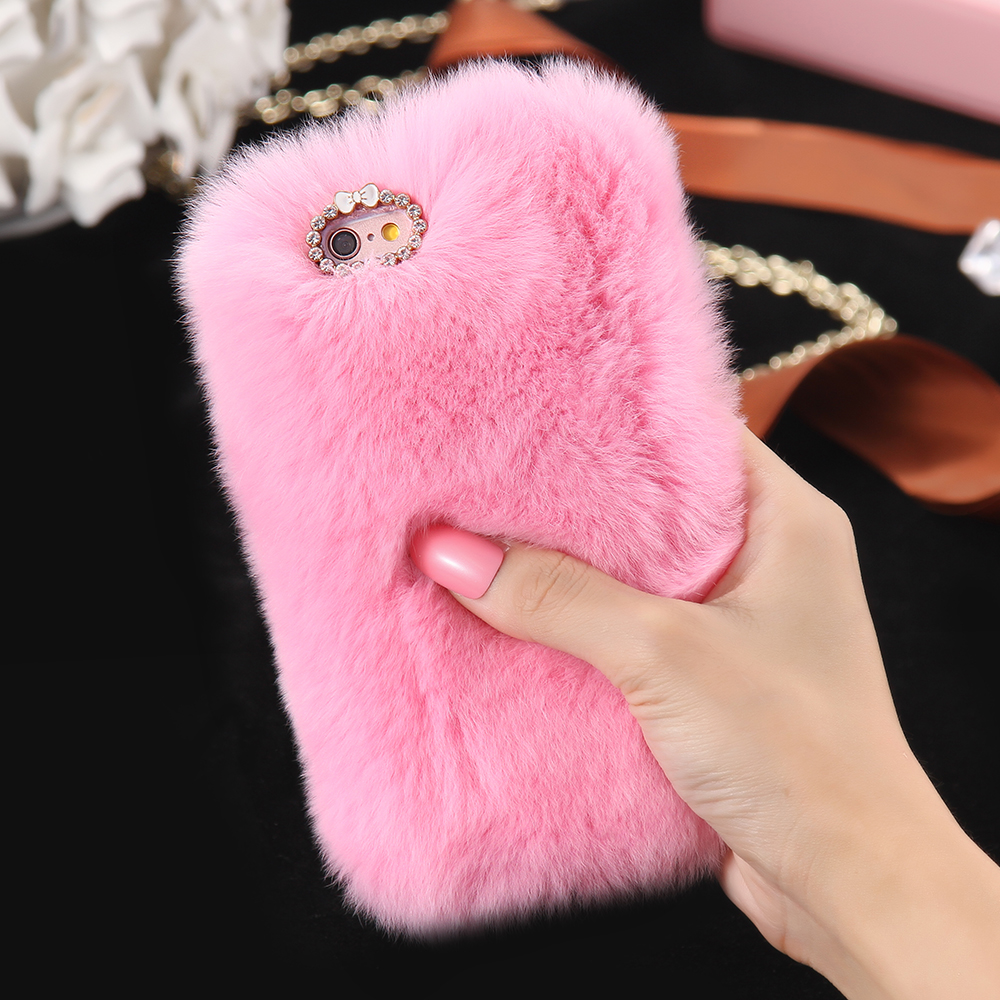 New 100% Real Rabbit Fur Case For iPhone 6 6s / 6s Plus Fashion Luxury Cute Cartoon Hair Bling Diamong Cover For iPhone 6 PLus(China (Mainland))