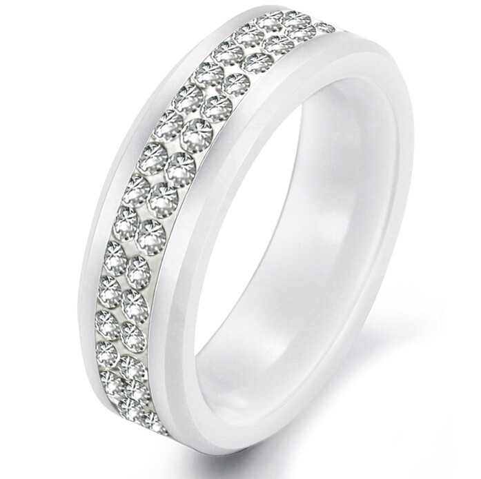korean jewelry white ceramic ring two rows rhinestones