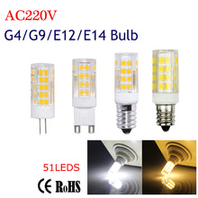 Buy G4 G9 E12 E14 Led Bulb Light 51LEDS 220V 5W Corn Bulb SMD2835 Ceramics Candle lamps Crystal Chandelier Lighting White/WW for $2.16 in AliExpress store