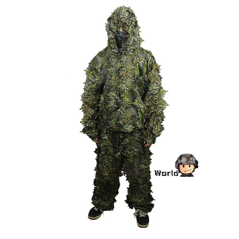 airsoft 3d leaf camo clothing ghillie suit hunting military tactical bionic disguise sniper. Black Bedroom Furniture Sets. Home Design Ideas