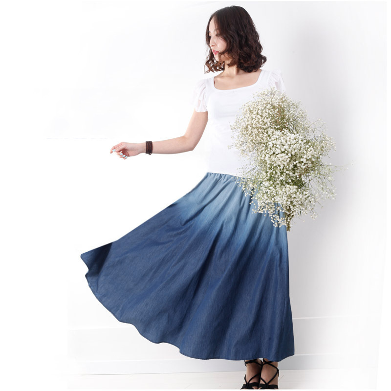 2015 Spring Summer New Ombre Blue Ladies Vintage Casual Jeans Skirts Women Fashion Maxi Long A-line Denim Skirt Jupe LS586(China (Mainland))