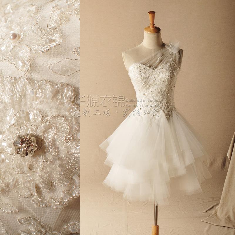 Gardenia luxury hand beaded diamond oblique shoulder for Beaded short wedding dress