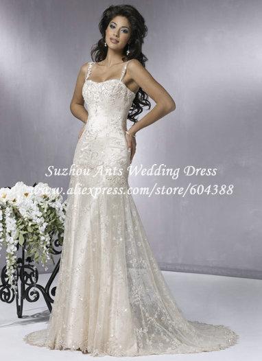 Free Shipping Spaghetti Straps Sweetheart Beach Wedding Dress Lace Bridal Gown Lace Up Back MY500(China (Mainland))
