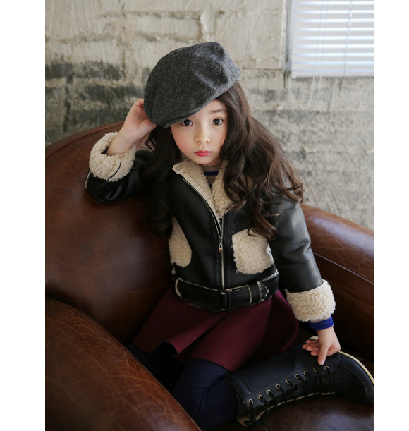 2016 Children's Winter Warmer Coat Baby Girls Boys Black Jackets Fashion Motorcycle Jacket Wool Sherpa Thicken Kids Clothes(China (Mainland))
