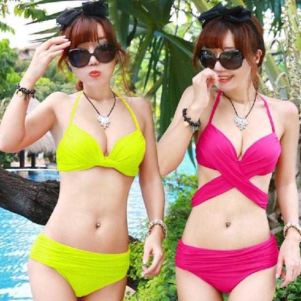 2015 summer fashion bandage style belt push up bikini set swimwear rose orange purple bathing suit(China (Mainland))