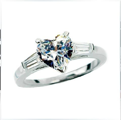 7*7mm Ladder Side Mount 2CT Heart Moissanite Ring Synthetic Diamond Moissanite Heart Shape Positive 14K White Gold Female Ring(China (Mainland))