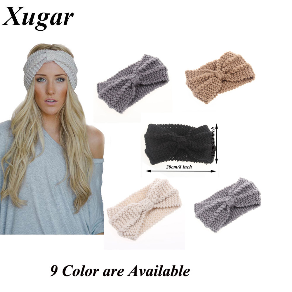 Winter New Fashion Solid Wool Warm Crochet Bow Headband For Lady Women Head Bands Hair Accessories(China (Mainland))
