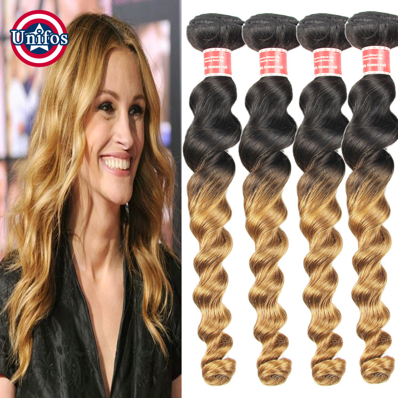 Brazilian Virgin Hair Loose Wave 4 Bundles 1b 27 Ombre Virgin Hair Dark Roots Blonde Ombre Brazilian Hair Bundles Loose Curly <br><br>Aliexpress