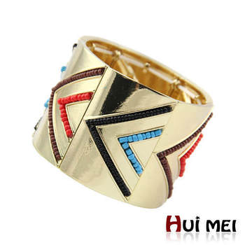 Free Shipping New Arrival Women Gold Plated Multicolor Beads Hinge Cuff Bracelets Jewelry