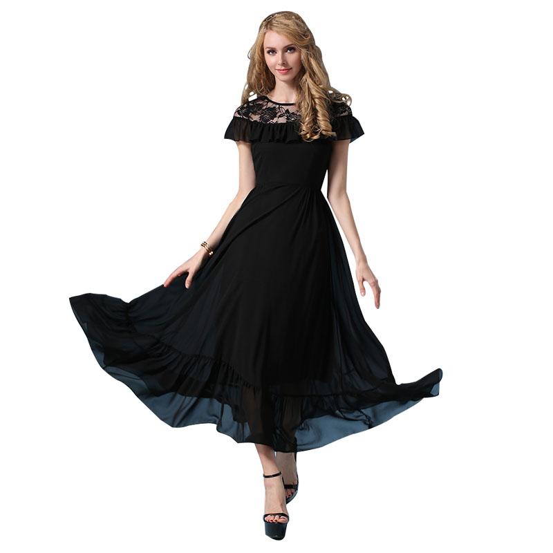 2016 New Summer Dress Bohemia long dress Ladies Casual chiffon Dress big hem slim women dress Female Black Vestidos Plus Size(China (Mainland))