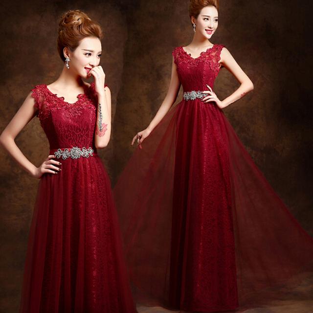 2016 элегантный длинные V шее красное вино аппликации кружева пром платья кристалла ...