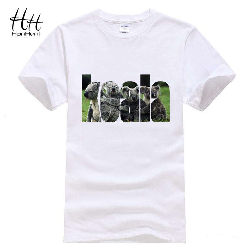HanHent Koala T shirt Men Camisetas Cotton Short Sleeve Tee shirt Novelty Swag Funny Summer Style Animals 3D Print T-shirts(China (Mainland))