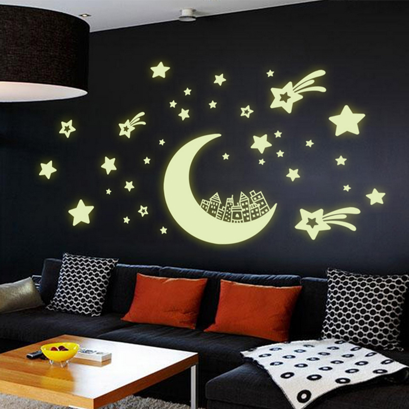 Romantic Night Luminous Stars Moon Fluorescent 3D Wall Stickers For Kids Bedroom Stickers Glow In The Dark Star Decor(China (Mainland))