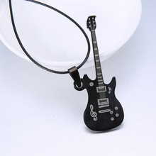 Buy Fashion Guitar Pendant 316L Stainless Steel necklaces & pendants Leather Chain Choker necklaces Men Jewelry for $1.11 in AliExpress store