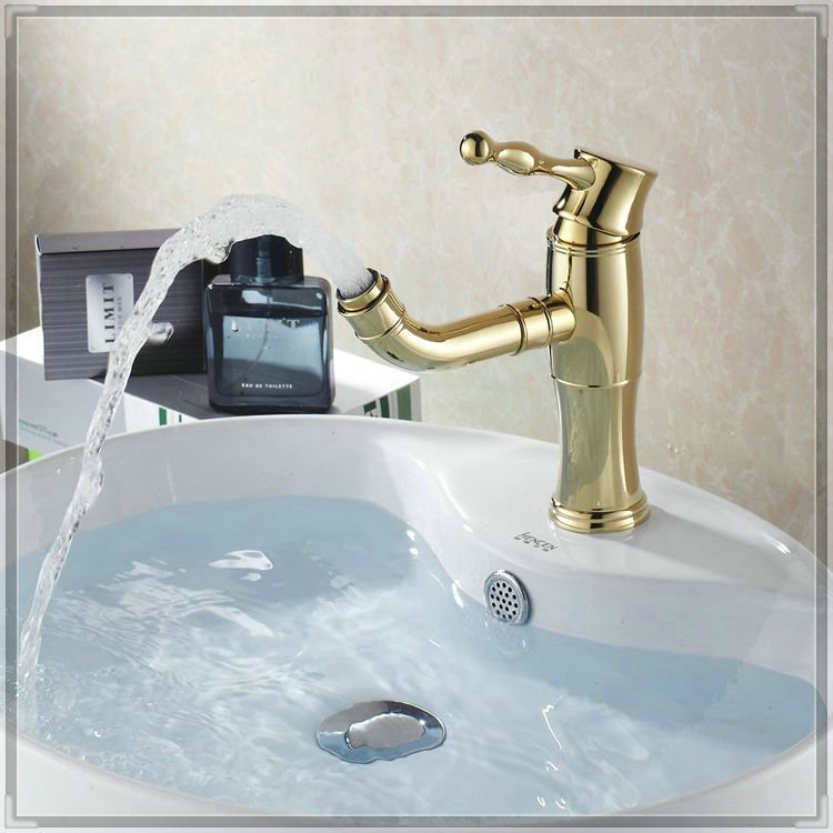 Gold Color Brass Basin Faucet Washbasin Hot And Cold Tap Bathroom Single Handle Mixer High Cheap