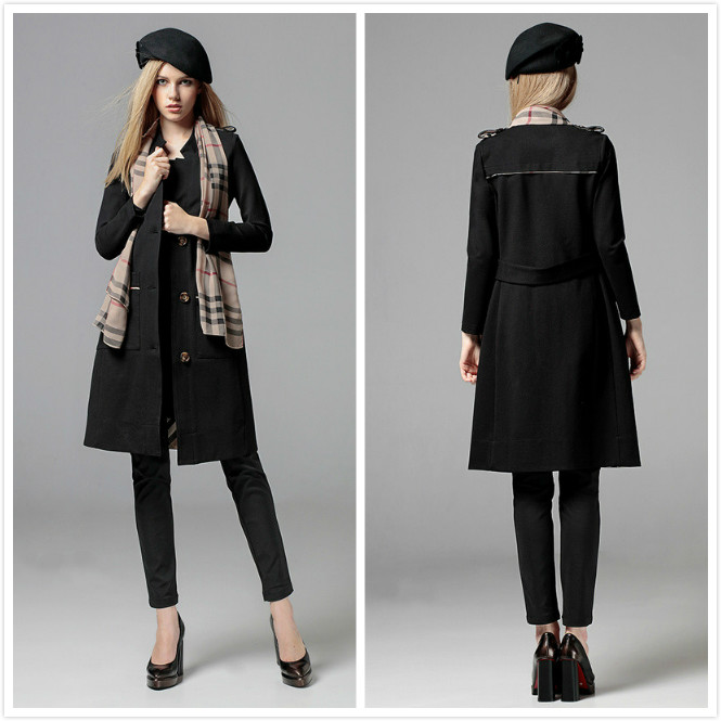 New Luxury Women Fashion British Style Elegant Cotton Long Autumn Winter Trench Coat Designer