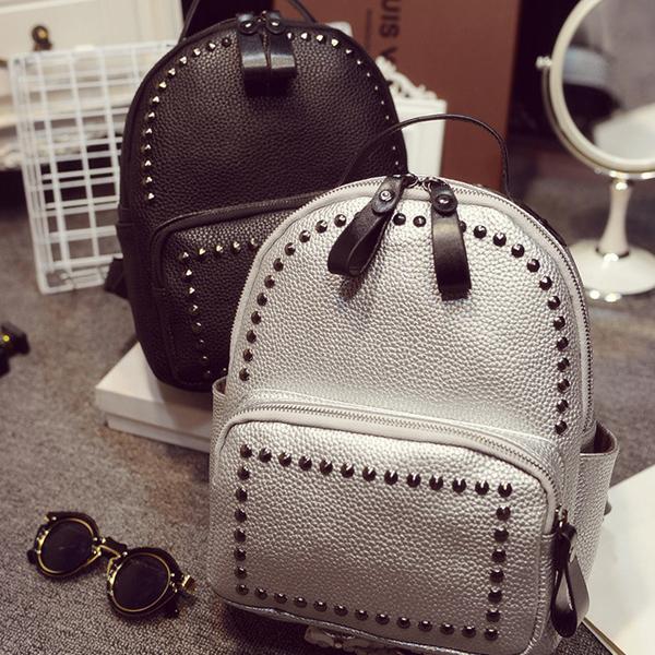 2015 New Rivet Backpacks Wholesale Female PU Material Shoulder Bag Fashion Bag for Women Packbag YP106(China (Mainland))