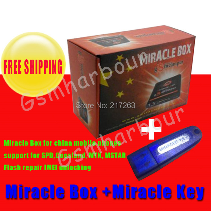 Hot Sale Original Miracle box +Miracle key with cables (1.88 hot update) for china mobile phones Unlock+Repairing unlock(China (Mainland))