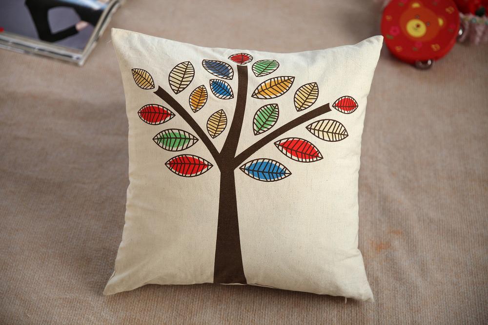 Throw Pillows Leather : B060 4 tree linen cushion cover cushion home decor pillow cover sofa throw pillows decorate capa ...