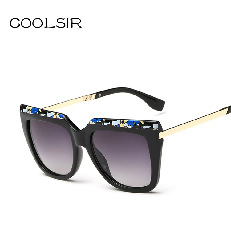 latest style in eyeglasses i75g  COOLSIR Latest Fashion Sunglasses Women Flat Top Style Brand Designer  Vintage Sun glasses Floral Sunglasses for