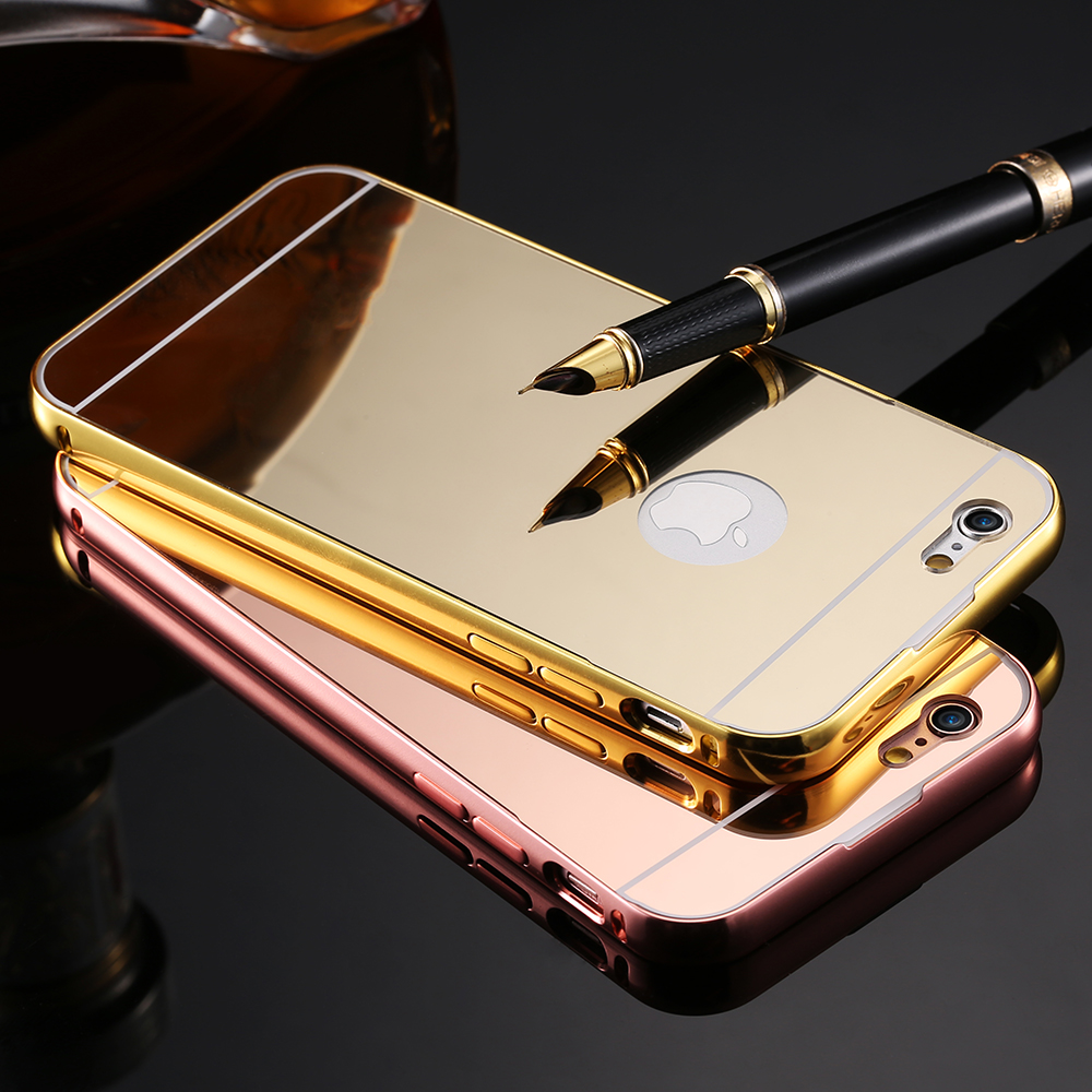 Mirror Case For iPhone 6 6s Aluminum Frame Hard PC Plating Back Cover For iPhone 6s