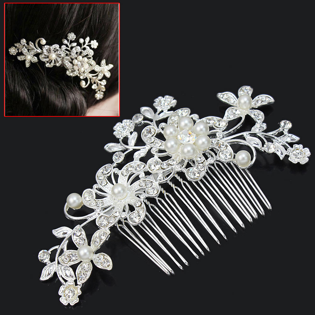 2016 Fashion Wedding Accessories Prom Charm Silver Rhinestone Crystal Flowers Pearl Hair Comb Wedding Decoration Hair Jewelry(China (Mainland))