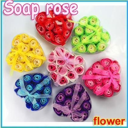 12pcs/pack Bath Body Flower heart-shaped rose Soap Rose Petal Gift Wedding Favor Mix Color Soap(1 BOX)(China (Mainland))