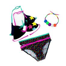 2015 New Summer girls split three-pieces Swimwear, children Cute star pattern split bikini girls swimsuit wholesale