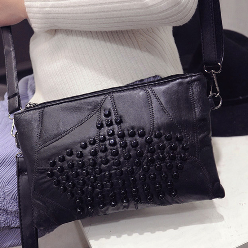 2016 women spring handbag rivet envelope bag messenger bag casual sheepskin small bags(China (Mainland))