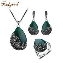 Feelgood Trendy Schmuck Wassertropfen Und Schwarz Kristall Flamme Form Vintage Silber Farbe Türkische Schmucksets parure bijoux femme(China)