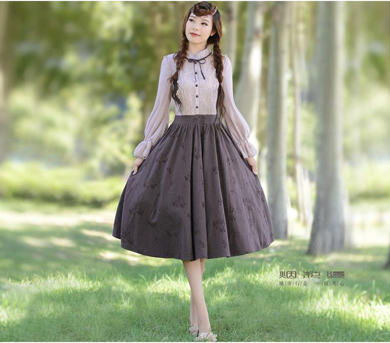 YANHTA Spring Vintage&amp;Retro LanternSleeve Royal-Court Slim Print Lace Patchwork Cotton Plus Size Long Dress Sz S M L XL XXL XXXLОдежда и ак�е��уары<br><br><br>Aliexpress
