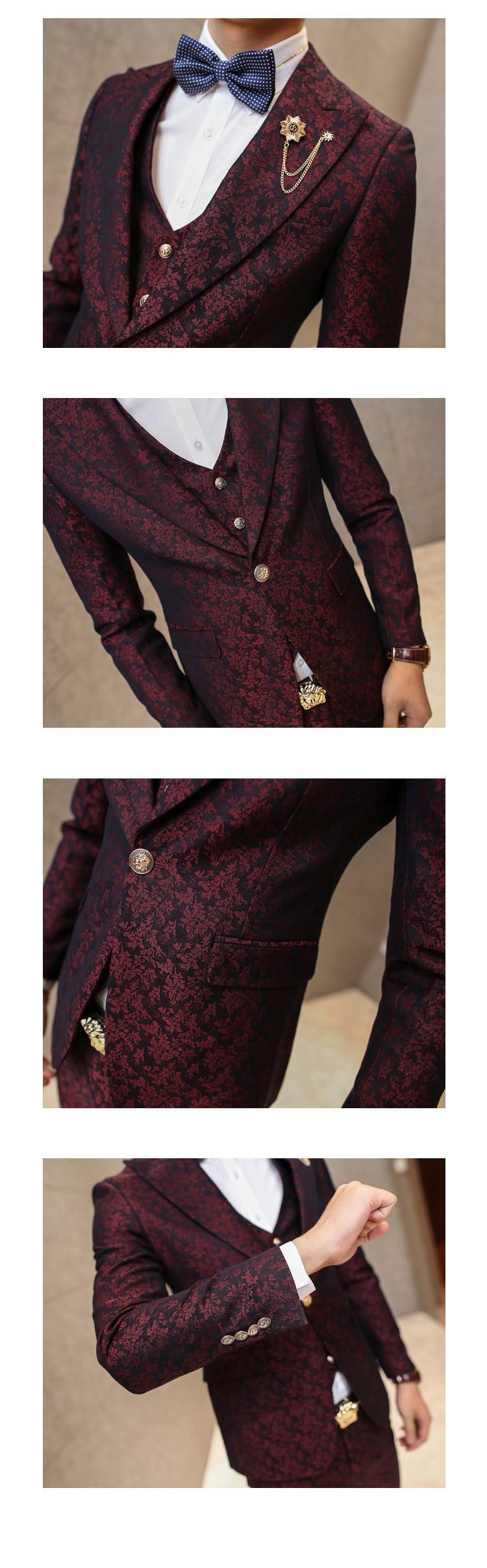 HTB1oKXpJFXXXXbCXVXXq6xXFXXXi - MAUCHLEY Prom Mens Suit With Pants Burgundy Floral Jacquard Wedding Suits for Men Slim Fit 3 Pieces / Set (Jacket+Vest+Pants)