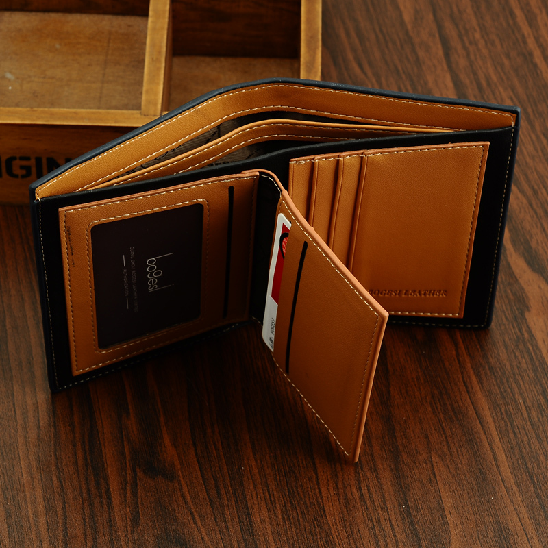 new 2015 men wallets famous brand mens wallet male money purses Soft ID Card Case New